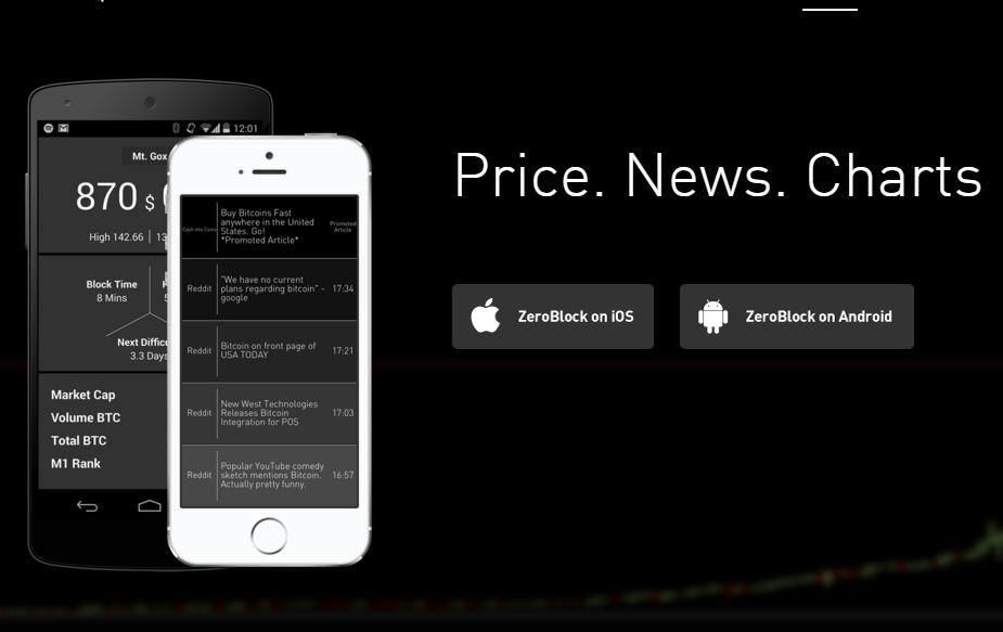 Ứng dụng xem giá Bitcoin ZeroBlock trên điện thoại