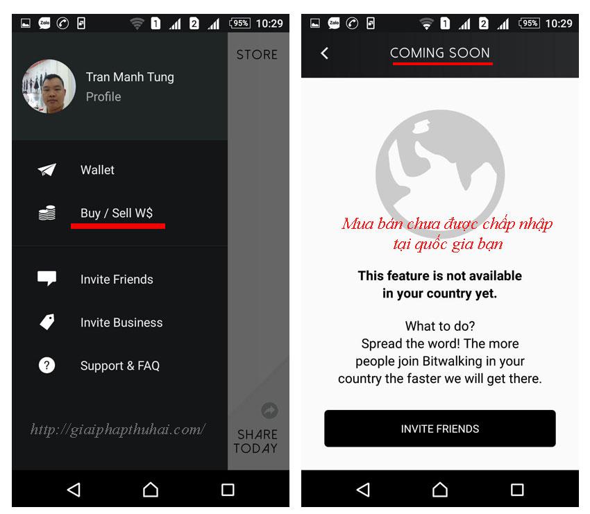 Bitwalking chưa chấp nhận giao dịch tại quốc gia bạn