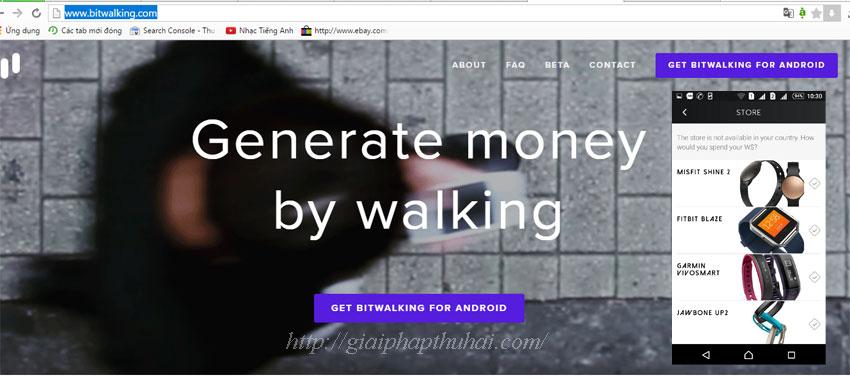 Cài đặt bitwalking để đi bộ có tiền