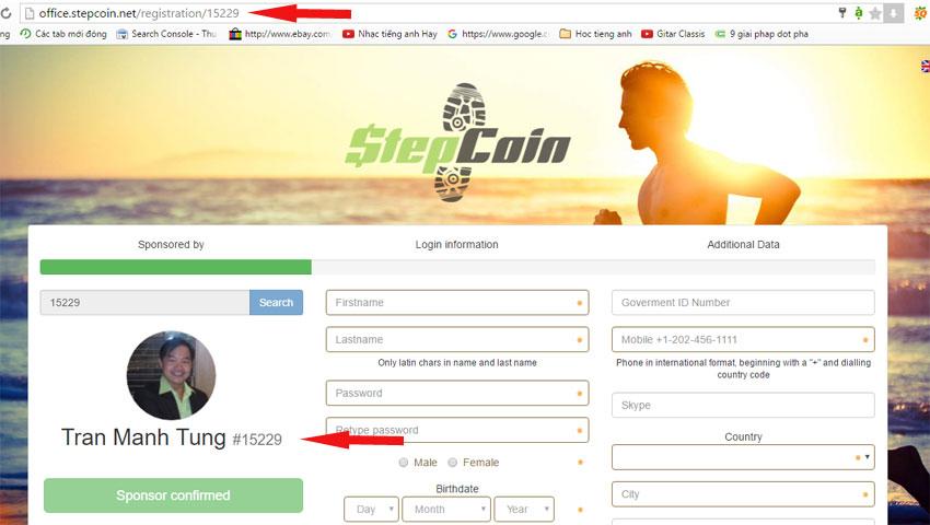 Đăng ký tài khoản mới với stepcoin
