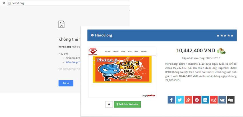 Website hero8 không truy cập vào được, sập rồi