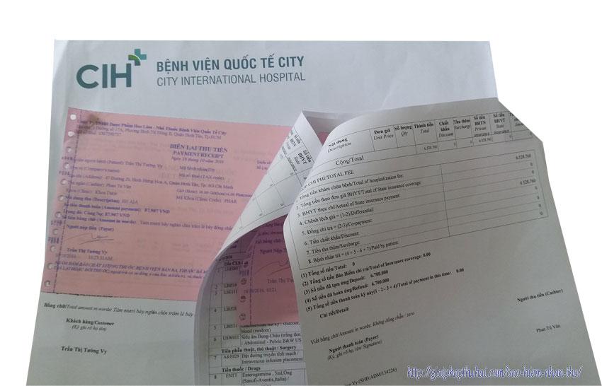 Hóa đơn thanh toán tiền viện phí của bệnh viện city