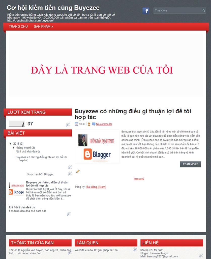 website hoàn thành sau khi làm Blogger