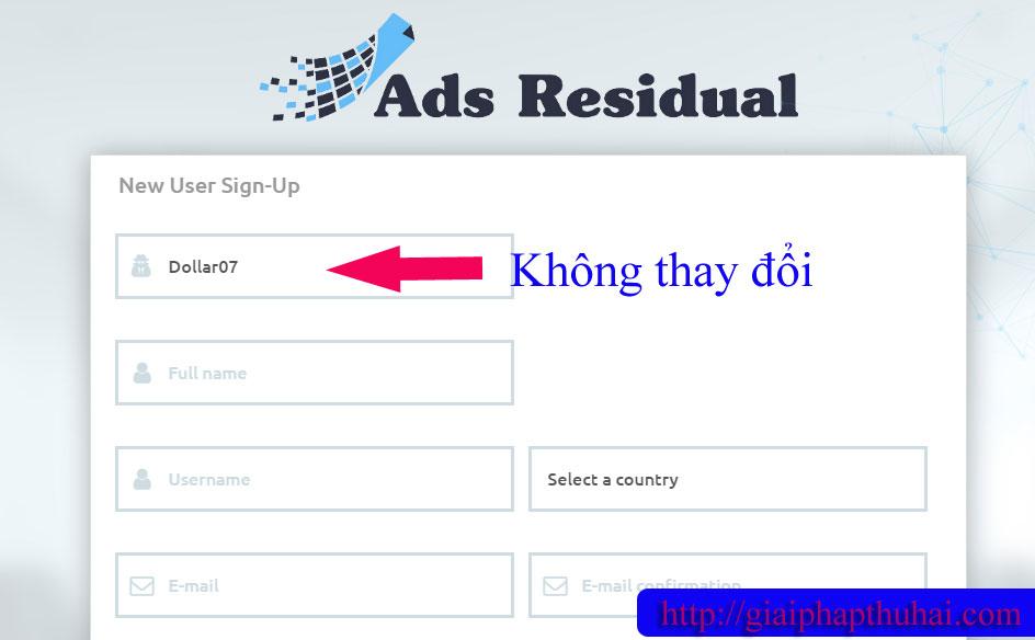 Đăng ký tài khoản mới với ADS residual