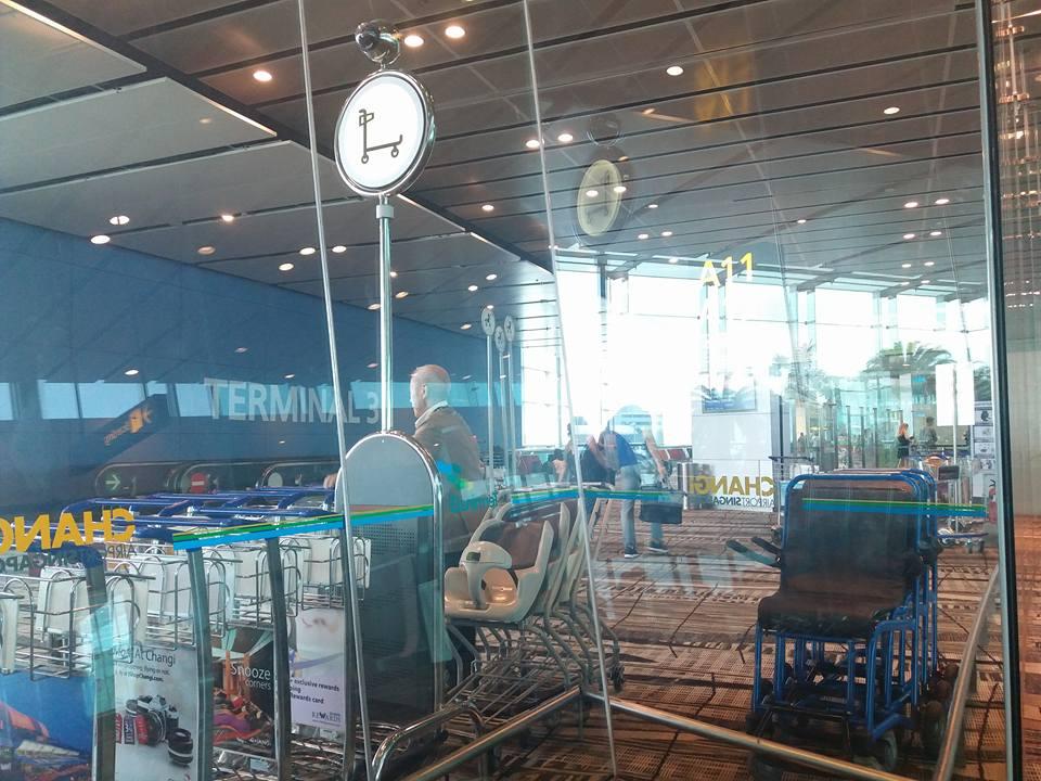 Người làm việc dọn xe đẩy ở sân bay singapore