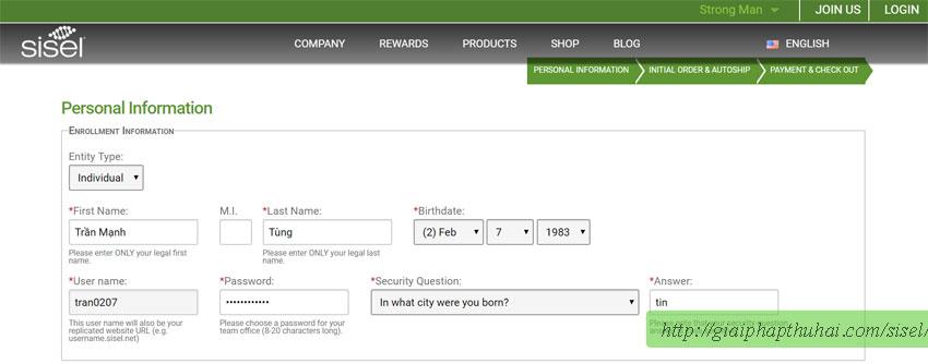 Điền địa chỉ để nhận hàng khi đặt hàng tại sisel