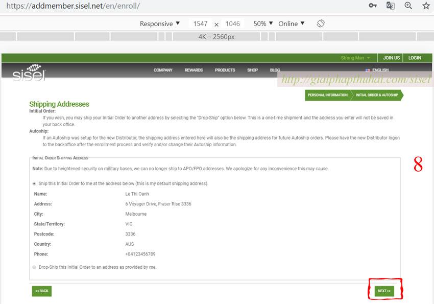 Hướng dẫn đăng ký mã số với sisel bước 8