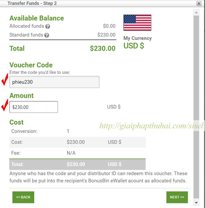Tạo Voucher 230$ tiền hoa hồng sisel international