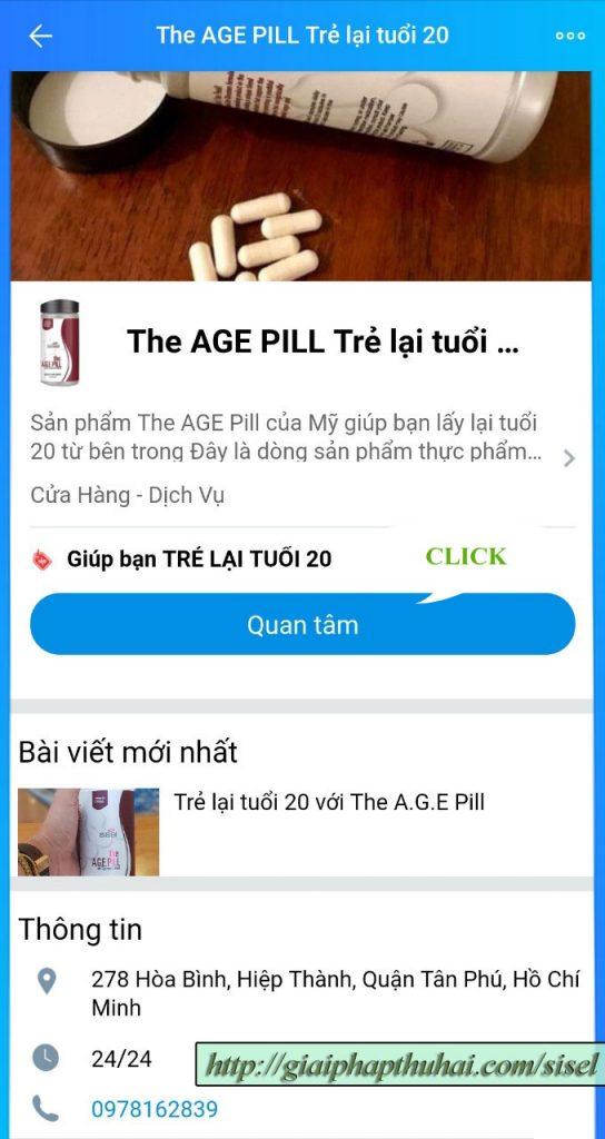 Cách 1 kích vào link để quan tâm đến oa của the age pill