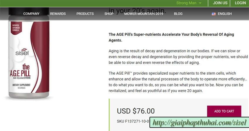Giá một hộp sản phẩm the age pill tại công ty SISEL