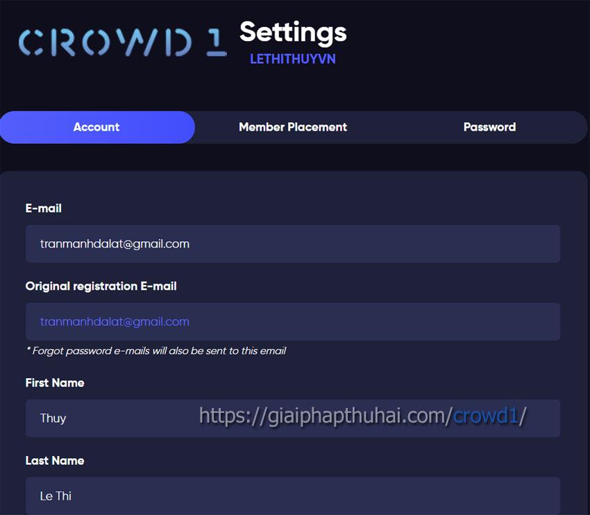 Điền thông tin trước khi xác minh tài khoản KYC của crowd1